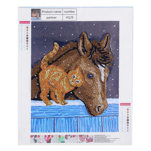 Cat Friend with Horse - Special Diamond Painting