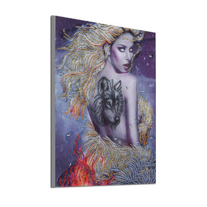 Girl with Wolf Tattoo - Special Diamond Painting