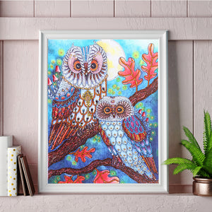 White Lovely Owls - Special Diamond Painting