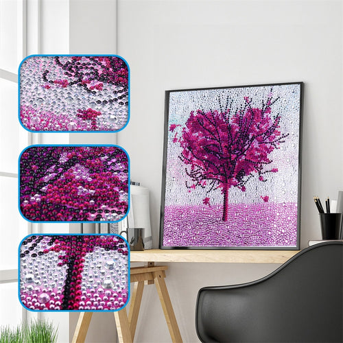 Purple Love Heart Tree - Special Diamond Painting