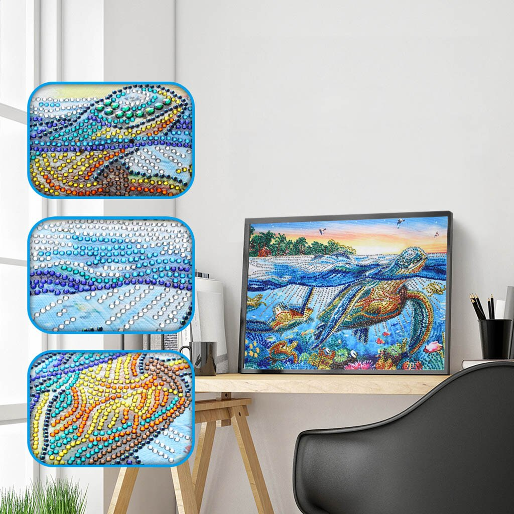 Tortoise In The Sea Scenery - Special Diamond Painting