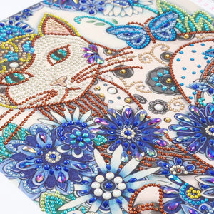 Cat with Blue Flower - Special Diamond Painting