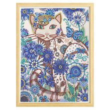 Load image into Gallery viewer, Cat with Blue Flower - Special Diamond Painting