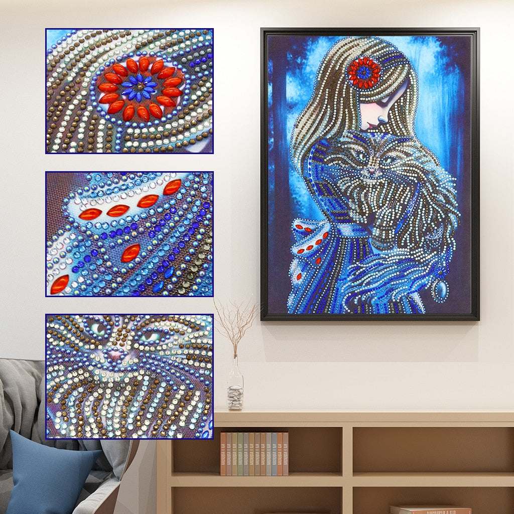 Girl and Hairy Cat - Special Diamond Painting