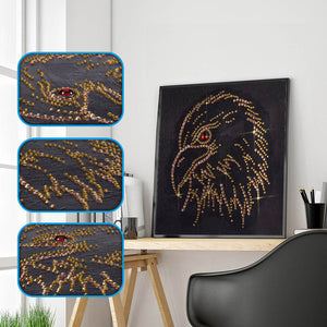 Gold Eagle Head - Special Diamond Painting