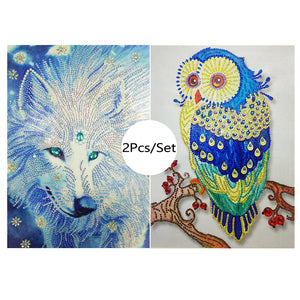 Wolf Owl Animals - Special Diamond Painting