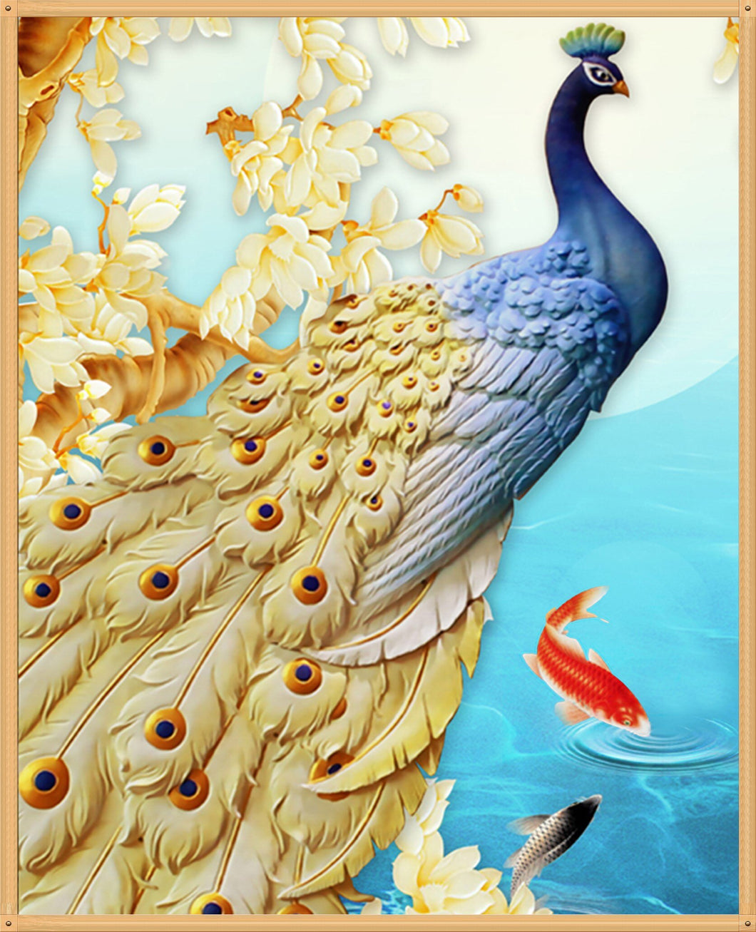 Golden Feather Peacock - Special Diamond Painting
