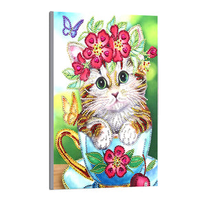 Cute Cat With Flowers - Special Diamond Painting