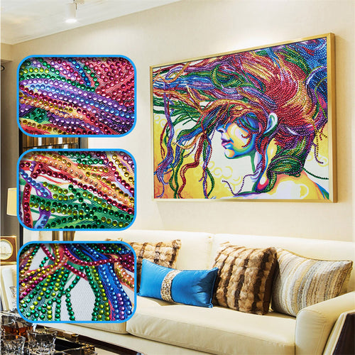 Abstract Colorful Hair Women - Diamond Painting