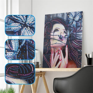 Beauty with Butterfly - Special Diamond Painting