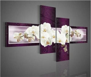 4 Panel Flower Paintings for Your Wall