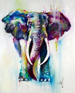 Colorful Mother Elephant with Baby DIY Painting