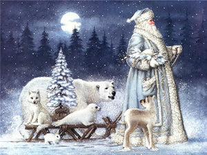 Santa & White Bear on Snow Paintings