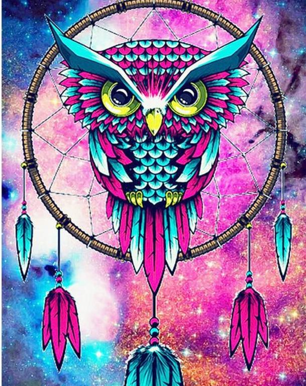 Colorful Big Dream Catcher Owl Diamond painting