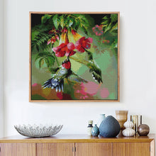 Load image into Gallery viewer, Hummingbird and Flowers Paint with Diamonds