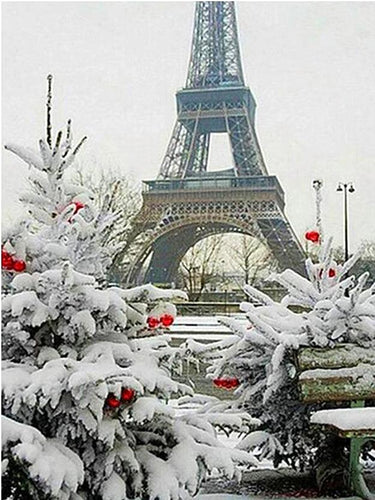 winter eiffel tower diamond painting