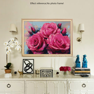 Attractive Pink Roses DIY Diamond Kits
