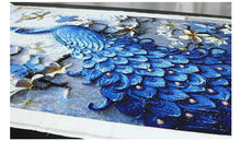 Load image into Gallery viewer, Beautiful Majestic Blue Peacock Diamond Painting Kit
