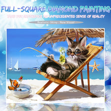 Load image into Gallery viewer, Cat & Fish Enjoy the Beach