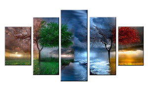 Beautiful 5 Piece Seasons Diamond Painting - Wall Art