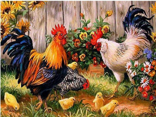 Cocks with Hen and Flowers Painting by Diamonds