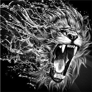 Wild Black & White Lion and Tigers Diamond Painting