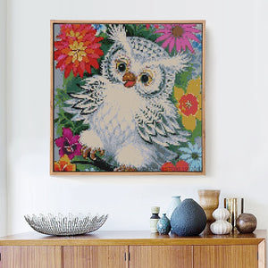 White Owl in Colorful Flowers