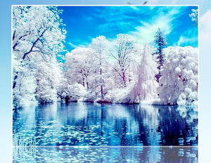 Natural Blue Lake in the Winter
