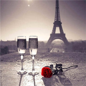 Romantic Red Roses & Glass at Eiffel Tower