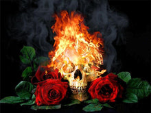 Load image into Gallery viewer, skull and roses diamond painting kit