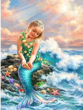 Load image into Gallery viewer, mermaid painting DIY diamond painting