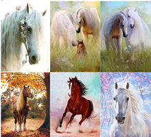 Load image into Gallery viewer, White & Brown Horses Diamond Paintings