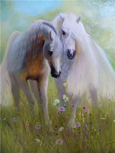 White & Brown Horses Diamond Paintings