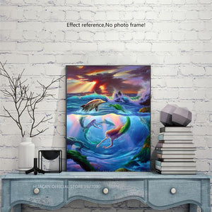 Beautiful Mermaid & Dolphin Diamond Painting