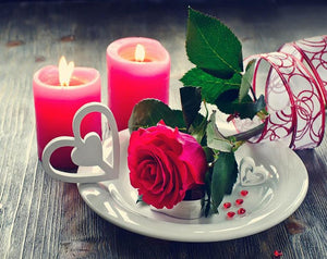 Romantic Red Rose & Candles - DIY Diamond Paintin