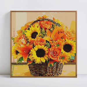 Beautiful Sunflowers & Roses Basket