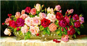 Colorful Romantic Roses Painting