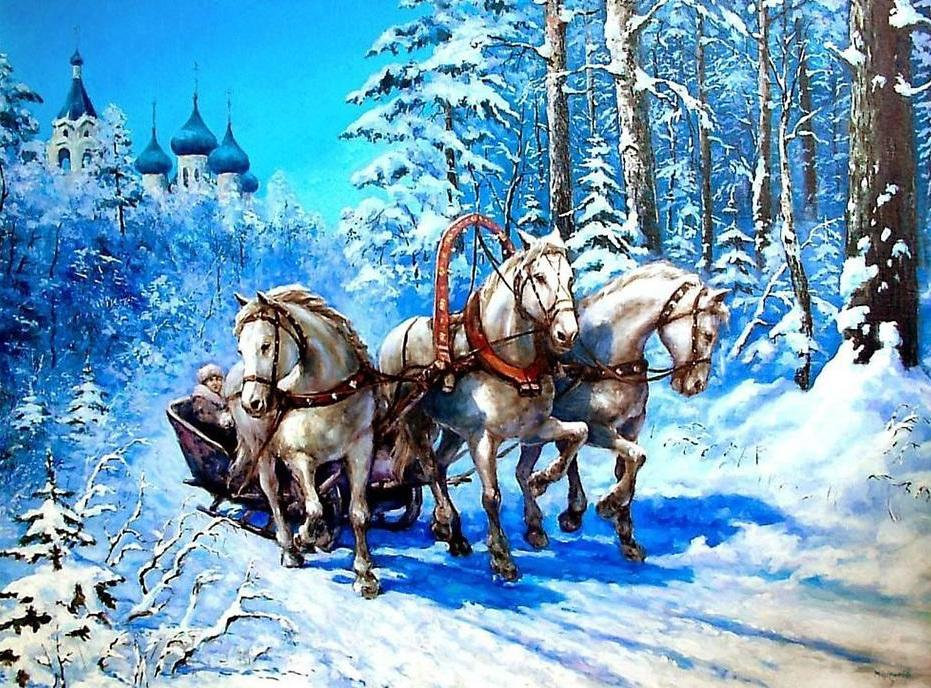Beautiful Horses Running on the Snow