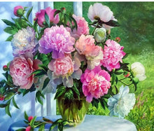 Load image into Gallery viewer, Beautiful Colorful Flowers in Glass Vase