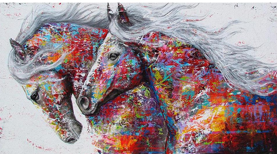 colorful horses diamond painting