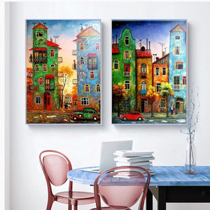Amazing Blue & Green Building Diamonds Painting