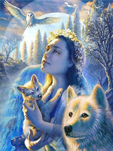 Load image into Gallery viewer, girl and wolf diamond art