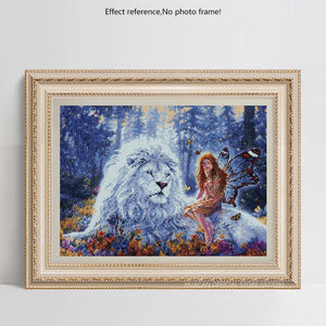 Big White Lion and Fairy  Diamond Painting
