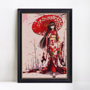 Beautiful Japanese Girl in Red Dress Diamond Painting
