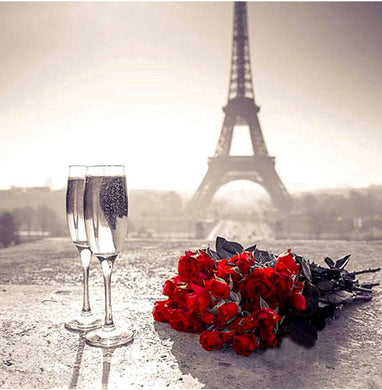 Romantic Red Roses & Glass at Eiffel Tower Diamond painting