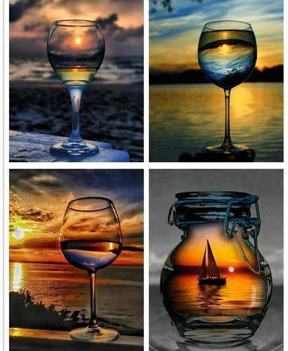 Beautiful Sunsets & Glass Bottle Painting with Diamonds