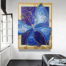 Load image into Gallery viewer, Big Blue Butterfly Diamond Painting Kit
