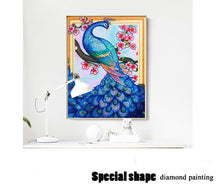 Load image into Gallery viewer, Beautiful Blue Peacock and Flowers