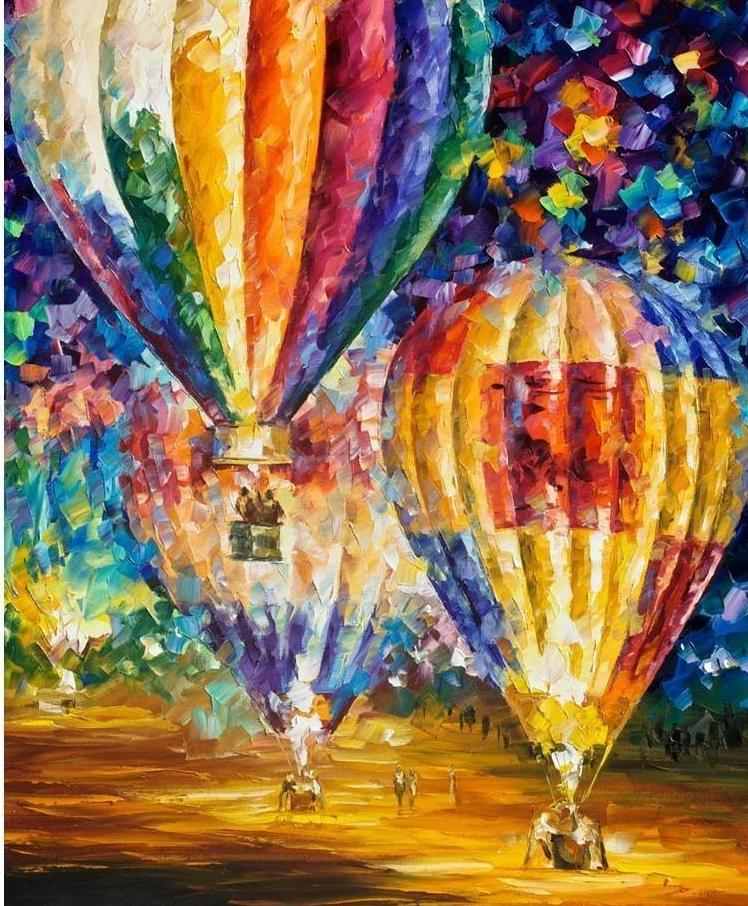 Very Beautiful Colorful Balloons Paint with Diamonds