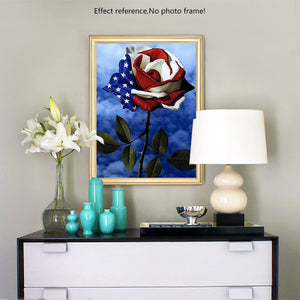 American Flag in the Rose - Diamond Painting